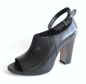 Pour La Victoire Endie Black Leather Peep Toe Size 8.5 Pumps Heels 5