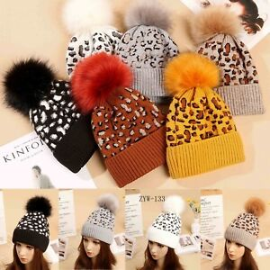 Women s Ladies Leopard Print Pom Pom Faux Fur knitted Winter Hat cap ... 0b623315eae