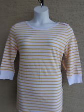 NWT WOMENS LUCKY BRAND BOAT NECK 3/4 SLEEVE TEE TOP YELLOW & WHITE STRIPES XL