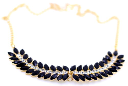 Gold tone chain necklace with beautiful pendant studded with black crystals
