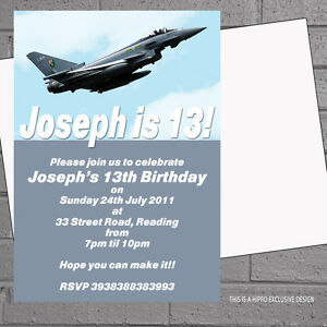 Image Is Loading Boys Mens Fighter Jet Airplane Birthday Party Invitations