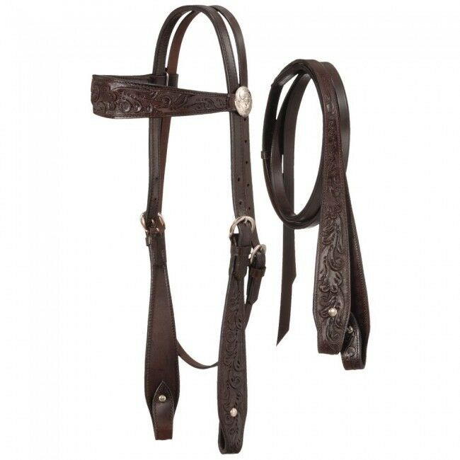 Fully Carved Brow Headstall with Reins  Dark Oil  182535320