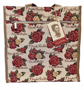 Signare-Shopper-Blumen-Gobelin-Frieda-Kahlo-Rose-Schultertasche-Einkaufsbeutel