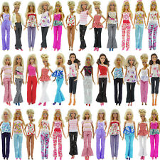 10pcs 5 Blouse & 5 Trousers Pants Casual Fashion Clothes Outfits for 12 In. Doll