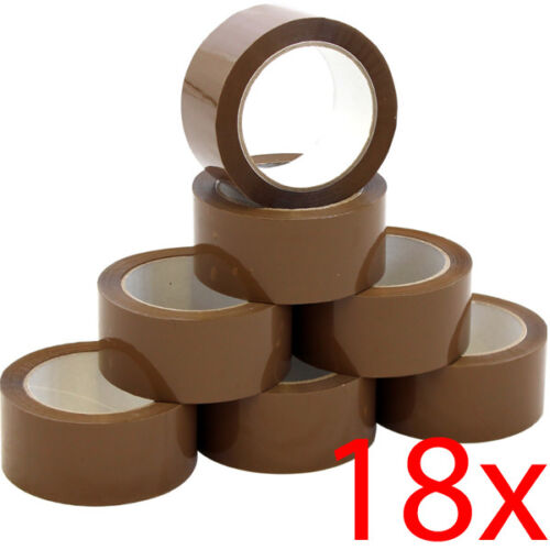 18 ROLLS STRONG BROWN PACKING TAPE 48MM X 66M BIG PARCEL OFFICE BUFF BOX SEALING