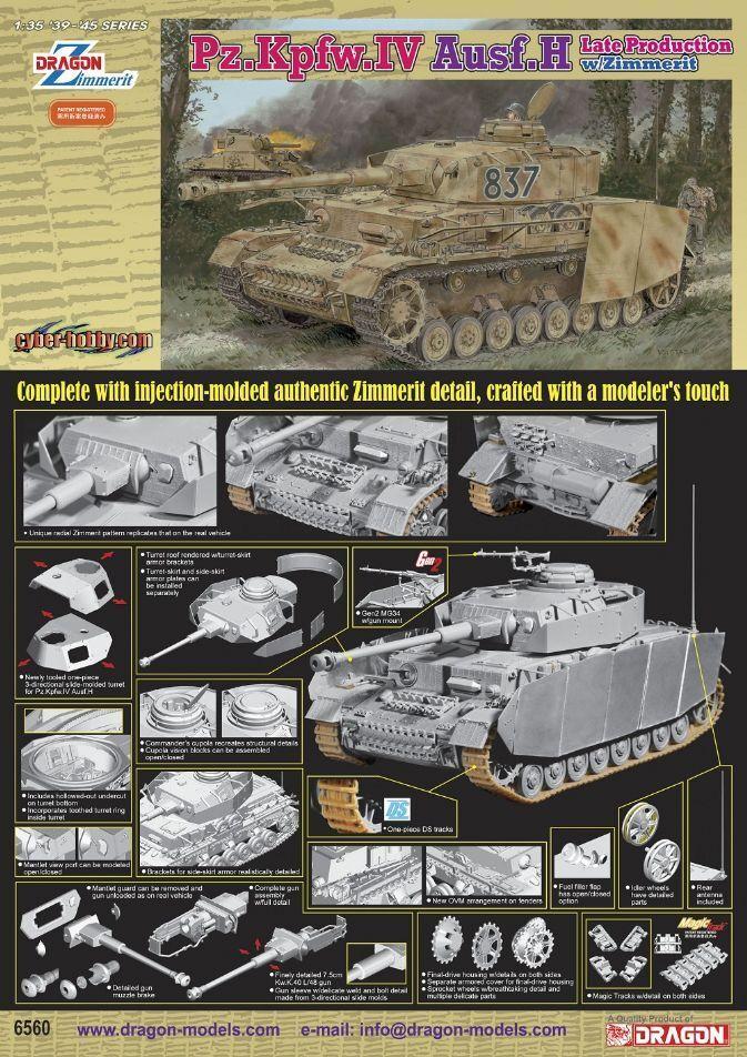 1 35 Dragon Pz.Kpfw.IV Ausf.H Late Production w Zimmerit
