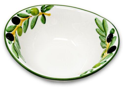 ital Servierschale ca.20x17cm Relief Keramik Schale Olive grün Schüssel oval