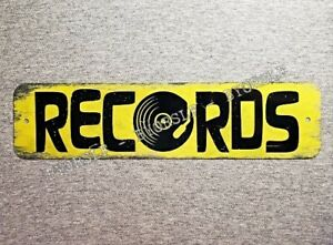 Metal Sign RECORDS vinyl albums record store day shop music cds phonograph 3x12