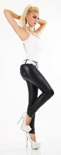 Da Donna Neri in Pelle Jeans Attillati Stile Biker Pantaloni bagnato cintura inclusa Siz 6-14