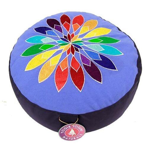 Meditationskissen Chakra Yoga KissenBuchweizen mit  Bumenmotiv XL blau//schwarz