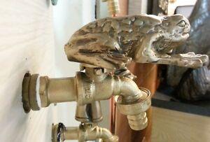 Brass Garden Faucet Tap TOAD Spigot Vintage Water Home Yard Decor