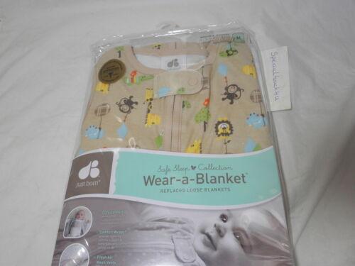 Just Born Cotton Wear-a-Blanket ~ Hippo Monkey Lion ~ 6-12 Months ~ Medium ~ Tan