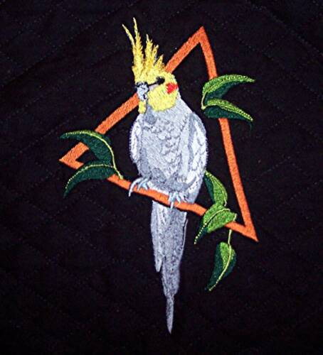 Embroidered parrot bird cage cover Cockatiel King sized Custom Denim