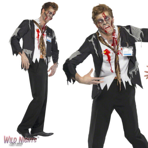 """HALLOWEEN FANCY DRESS COSTUME WORKED TO DEATH OFFICE ZOMBIE LARGE CHEST 42/""""-44/"""""""