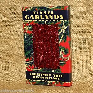 Red-Tinsel-Garland-In-Vintage-Antique-Box-Christmas-Ornament-Primitives-by-Kathy