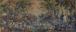 ANTIQUE-French-Gobelins-Tapestry-FOREST-HUNT-ACADIA-68in-X-28in-CENTRE-FRANCAIS