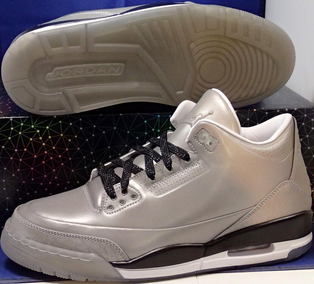 2014 Nike Air Jordan 5Lab3 Reflets Argent 3M Rétro Sz 11.5 (631603-003)