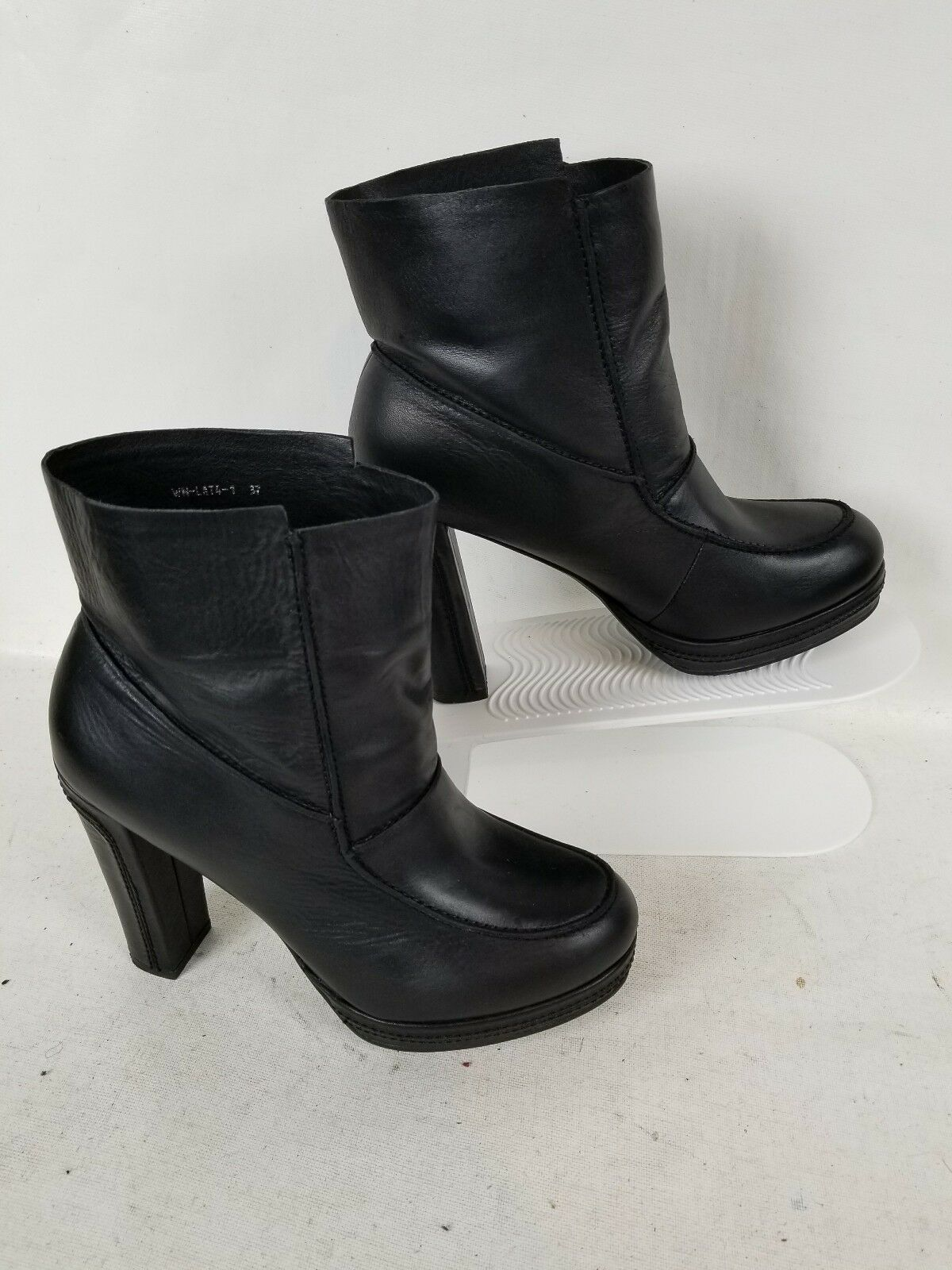 CARLO PAZOLINI ANKLE HIGH HEEL SOFT CUSHION BLACK LEATHER WORK BOOT SIZE 37 US 6