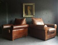 45 Superb Pair of Chesterfield Brown Tetrad Vintage Club leather Armchairs Cour*
