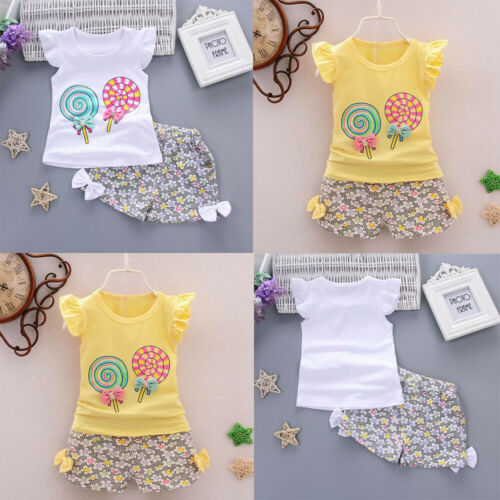 2PCS Toddler Kids Baby Girls Outfits Lolly T-shirt Tops+Short Pants Clothes Set
