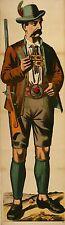 Original Antique Wissembourg Poster Man Leiderhosen c1880 Alsatian Weissenburg