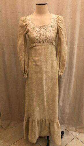Vintage Gunne Sax Maxi Peasant Dress Cream Crochet