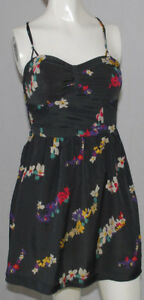 American-Eagle-Outfitters-Sun-Dress-Juniors-Size-2-Gray-Floral-Adjustable-Straps