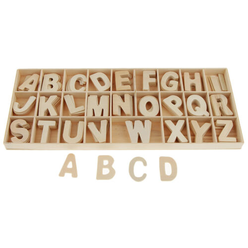 Unpainted Wood Alphabets 156Pcs Set Wooden Craft Letters with Storage Tray