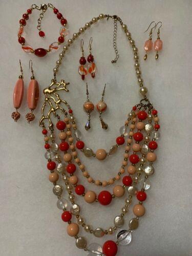 Vintage Costume Jewelry Lot Necklace Bracelet Ear