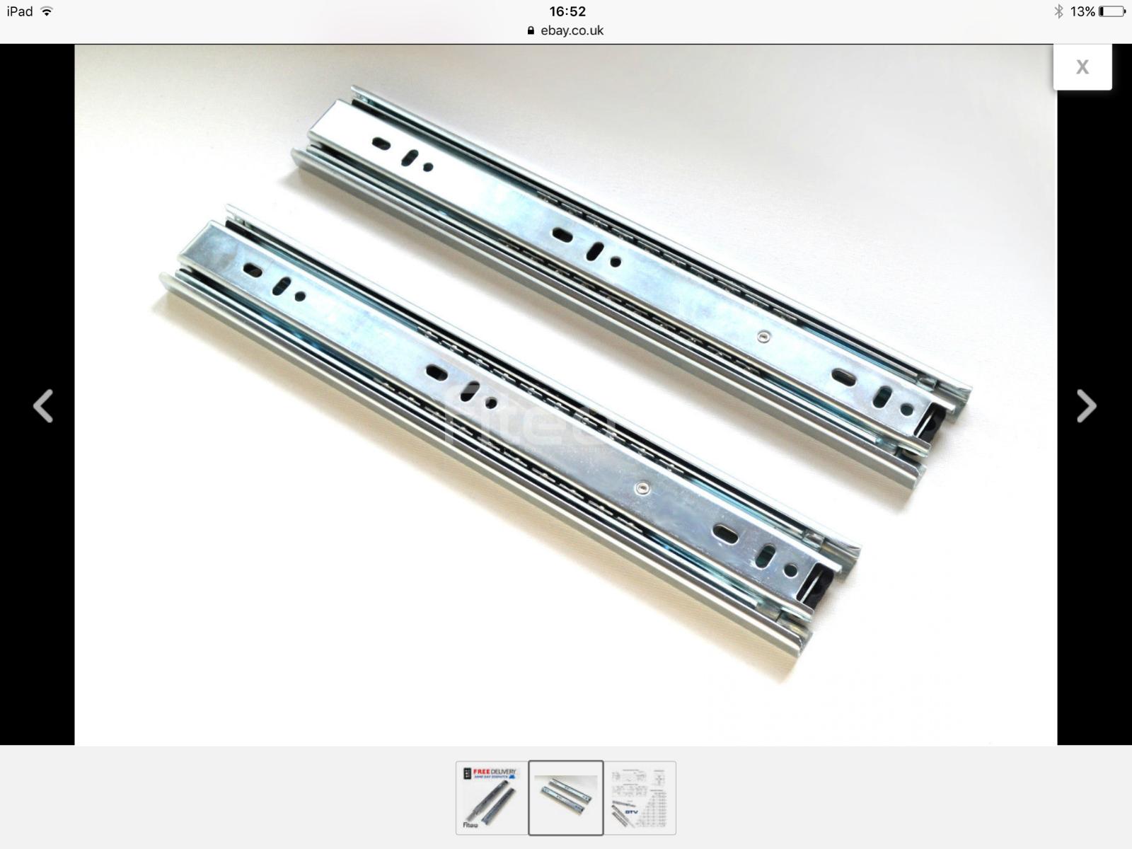 750mm extension drawer slides. BOX OF TEN PAIRS.