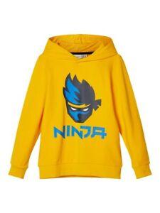 NAME-IT-Kapuzenpullover-Sweatshirt-NKMAsk-Ninja-gelb-Groesse-122-128-bis-158-164