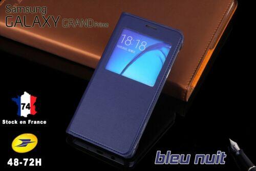 Housse Etui Flip Cover BLEU NUIT Samsung Grand Prime Avec Fenêtre