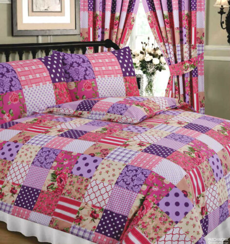 PATCHWORK BERRY 68 PICK PURPLE PINK TARTAN STRIPE DOT FLORAL BEDDING OR CURTAINS
