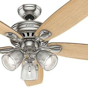 Hunter Fan 52 Inch Contemporary Ceiling Fan In Brushed Nickel With Led Light 840304131518 Ebay