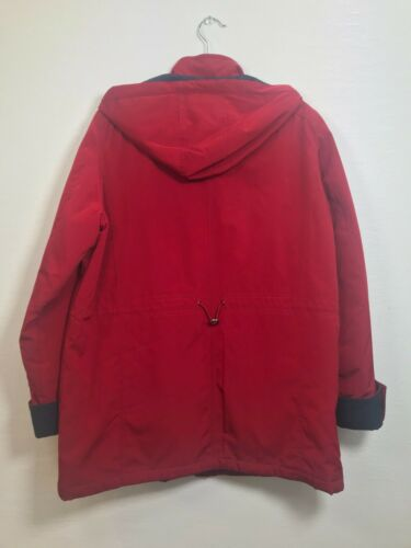 Nautica Women's Trench Coat With Hood Large Red Pr