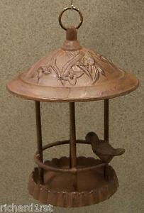 Bird-Feeder-Gazebo-Weathered-cast-iron-Antique-Rust-NEW