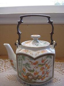 Japanese-Hand-Painted-Hexagon-Shape-Porcelain-Teapot-W-Brass-Handle