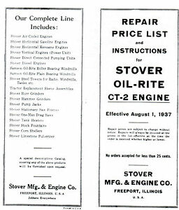 Stover-CT-2-gas-engine-instruction-book-manual-hit-miss-Wico-EK-motor-parts-list