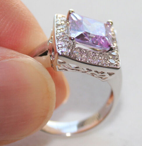 Size9 925 Sterling Silver /& Princess cut Amethyst White Gold finished Ring #1266