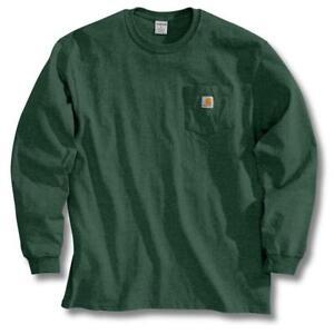 Carhartt Men S Regular Xxxx Large Hunter Green Cotton Long Sleeve T Shirt 35481107863 Ebay