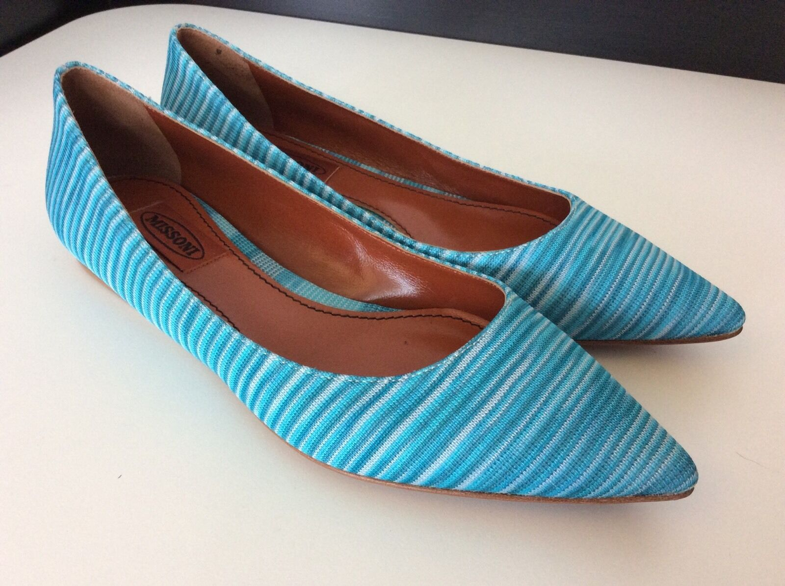Missoni neuf flats flats flats ballerine chaussures bleu tricot taille 37 Bnwob semelles en cuir f5354a