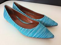 Missoni Flats Ballerina Shoes Blue Knit Size 37 Uk 4 Bnwob Leather Soles