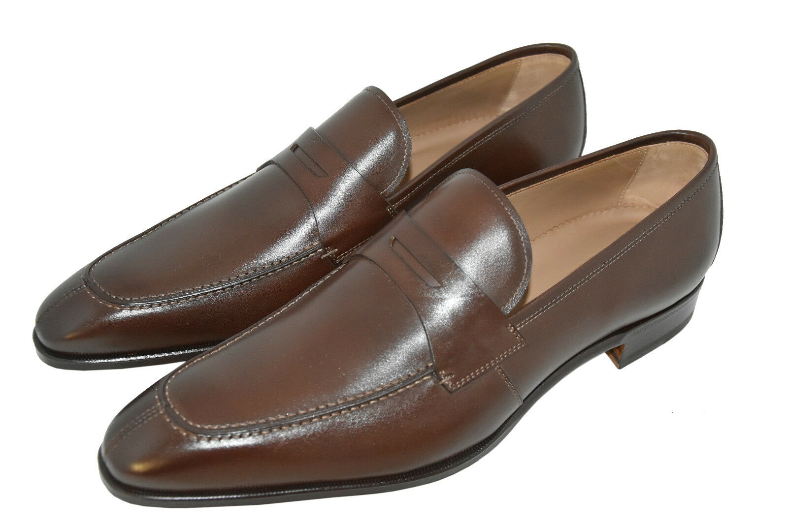 MAN-12EU-13US-PENNY LOAFER-CALF DARK BROWN-LEATHER SOLE- SMALL DEFECTED ITEM