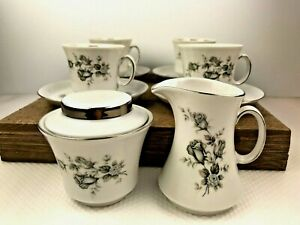 Vintage Winterling Schwarzenbach Bavaria Tea Set w Sugar and Creamer GRAY ROSES