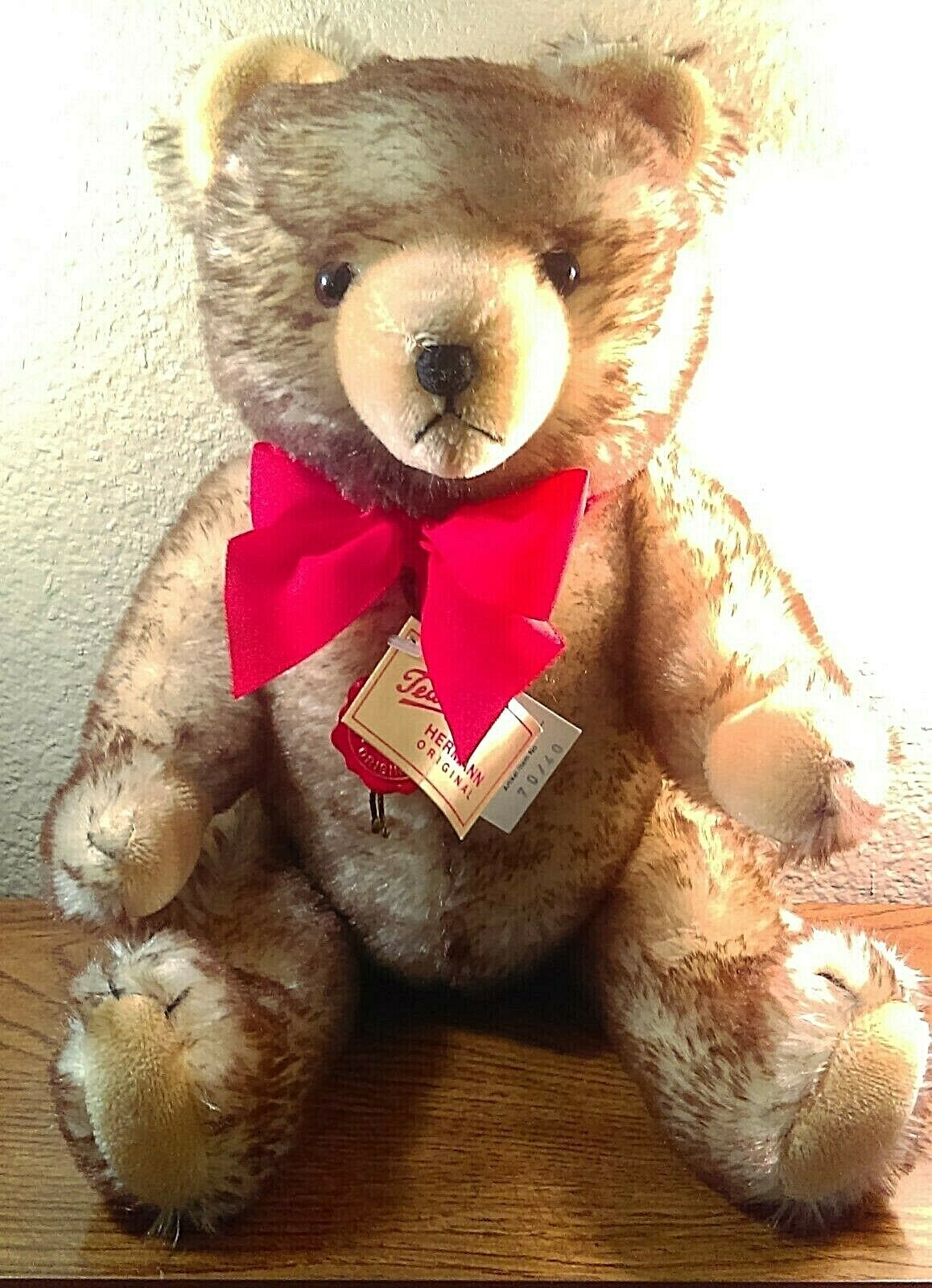 Vintage Hermann West Germany braun Tipped Mohair Teddy Bear With Tags & Growler