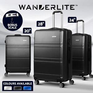 Wanderlite Luggage Set Suitcase Travel Scale 2/3pc Trolley TSA Carry on Hardside