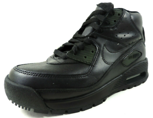 Nike-Air-Max-90-Boot-GS-317219-004-Boys-Shoes-Casual-Black-Leather-Dead-Stock