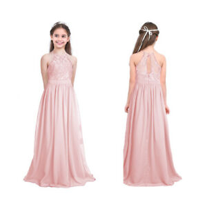 Madchen Chiffon Kleid Abendkleider Cocktailkleid Ballkleider Spitzenkleid Pink Ebay