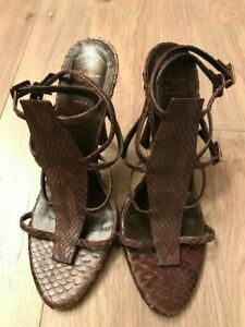 NWOB-ROGER-VIVIER-Brown-Strappy-Ankle-Strap-Buckle-Pumps-Heels-US-7-37