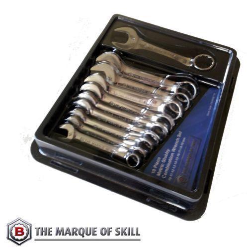 BRITOOL HALLMARK 10 Pce STUBBY COMBINATION SPANNER WRENCH SET 10-19mm SHORT